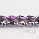 Manmade Crystal Beads, Flashing Purple, 8*12mm straight hole, drop shape, Sold per 27.95-inch strand