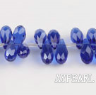 Manmade Crystal Beads, Sapphire Blue, 6*12mm partial hole, drop shape, 16.1-inch strand