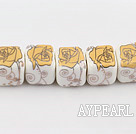 Porcelain beads,13*13mm cube,Sold per 14.96-inch strands