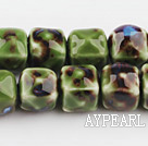 Porcelain beads,14*14mm cube,green,sold per 14.96-inch strand