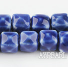 Porcelain beads,14*14mm cube,blue,sold per 14.96-inch strand