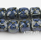 Porcelain beads,14*14mm cube,dark blue,sold per 14.96-inch strand
