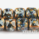 Porcelain beads,14*14mm cube,sold per 14.96-inch strand