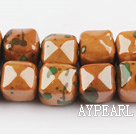 Porcelain beads,14*14mm cube,brown,sold per 14.96-inch strand