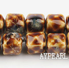 Porcelain beads,14*14mm cube,coffee,sold per 14.96-inch strand