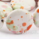 Porcelain beads,15*30mm flat oval,Sold per 14.57-inch strand