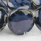 Porcelain beads,15*30mm flat oval,dark blue,Sold per 14.57-inch strand