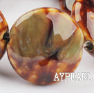 Porcelain beads,15*30mm flat oval,amber,Sold per 14.57-inch strand
