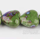 Porcelain Beads, Green, 12*25*25mm heart shape, Sold per 15-inch strand