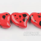 Porcelain Beads, Red, 10*25mm black spots, heart shape, Sold per 13.78-inch strand
