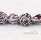 Porcelain Beads, Purple, 18*20mm carved biparamid, Sold per 15-inch strand