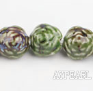 Porcelain Beads, Green, 18*20mm carved biparamid, Sold per 15-inch strand