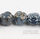 Porcelain Beads, Blue, 18*20mm carved biparamid, Sold per 15-inch strand