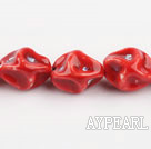 Porcelain Beads, Red, 10*20mm heterotypic, Sold per 14.17-inch strand