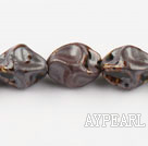 Porcelain Beads, Brown, 10*20mm heterotypic, Sold per 14.17-inch strand