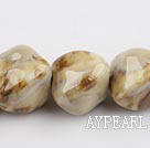 Porcelain Beads, Sand Color, 22mm stereo heart shape, Sold per 8.7-inch strand