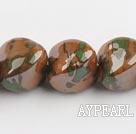 Porcelain Beads, Dark Amber Color, 22mm stereo heart shape, Sold per 8.7-inch strand