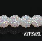Acrylic bali beads,14mm,white,Sold per 13.39-inch strand