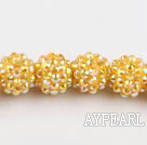 Acrylic bali beads,14mm,yellow,Sold per 13.39-inch strand