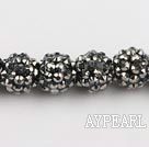 Acrylic bali beads,14mm,silver,Sold per 13.39-inch strand