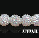 Acrylic bali beads,16mm,white ,Sold per 14.17-inch strand