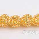 Acrylic bali beads,16mm,yellow,Sold per 14.17-inch strand