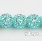 Acrylic bali beads,16mm,light blue,Sold per 14.17-inch strand