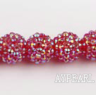 Acrylic bali beads,16mm,red ,Sold per 14.17-inch strand