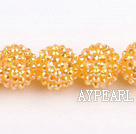 Acrylic bali beads,18mm,golden,Sold per 14.17-inch strand