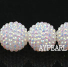 Acrylic bali beads,24mm,white,Sold per 14.57-inch strands