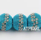 bali beads,18*22mm, blue with Rhinestone,Sold per 14.17-inch strands