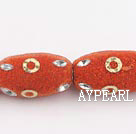 bali beads,18*30mm, red with copper core ,Sold per 13.39-inch strand