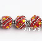 bali beads,18mm, red with Rhinestone ,Sold per 14.57-inch strands