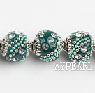 bali beads,18mm, cyan-blue with Rhinestone ,Sold per 14.57-inch strands