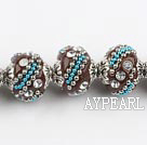 bali beads,18mm, brown with Rhinestone ,Sold per 14.57-inch strands