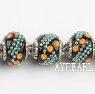 bali beads,18mm, black with Rhinestone ,Sold per 14.57-inch strands
