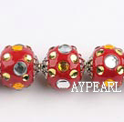 bali beads,20mm ,red with Rhinestone,Sold per 14.57-inch strands