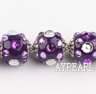 bali beads,20mm ,purple with Rhinestone,Sold per 14.57-inch strands