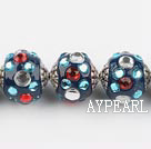 bali beads,20mm ,blue with Rhinestone,Sold per 14.57-inch strands