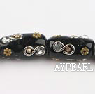 bali beads,12*24mm, black with  copper core,Sold per 14.57-inch strands