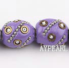 bali beads,16*20mm, purple with  copper core,Sold per 14.96-inch strands