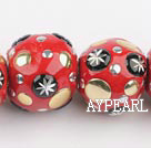 bali beads,20*24mm,red with copper core,Sold per 14.17-inch strands