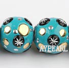 bali beads,20*24mm,green with copper core,Sold per 14.17-inch strands