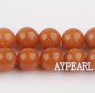 aventurine beads,10mm round, red ,sold per 15.75-inch strand