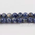 Spotted sodalite beads,6mm round, blue, sold per 15.75-inch strand