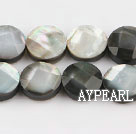 black lip shell beads,12mm flat oval,faceted,Sold per 15.75-inch strands