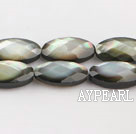 black lip shell beads,8*16mm egg,faceted,Sold per 15.75-inch strands