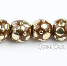 bali beads,18mm,brown with copper core,Sold per 13.39-inch strands