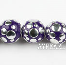 bali beads,18mm,purple with copper core,Sold per 13.39-inch strands