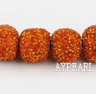 bali beads,20mm, orange with glass, Sold per 16.14-inch strand